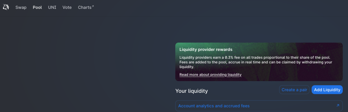 Liquidity Pools on Uniswap.