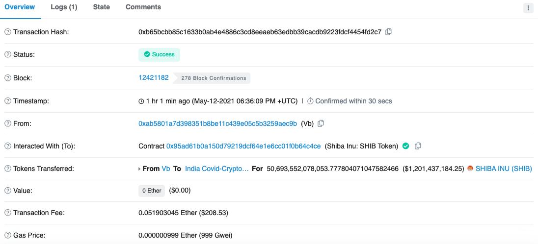 Vitalik's transaction where he rugged $SHIB for charity.